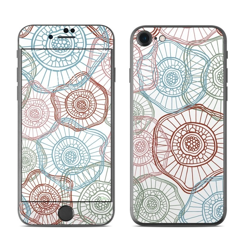 iPhone 8 Skin design of Pattern, Line, Circle, Line art, Design, Textile, Visual arts, Motif, Drawing with gray, white, pink colors