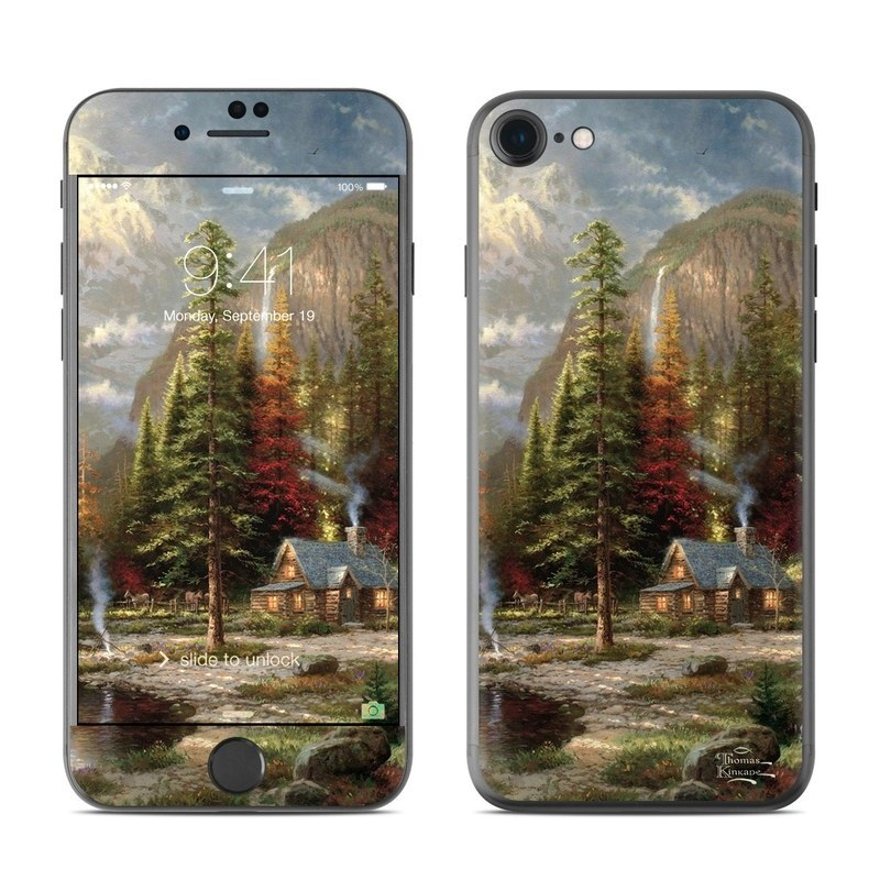 iPhone 8 Skin design of Natural landscape, Nature, Painting, Tree, Landscape, Biome, Sky, Watercolor paint, Forest, Reflection with black, gray, green, red colors