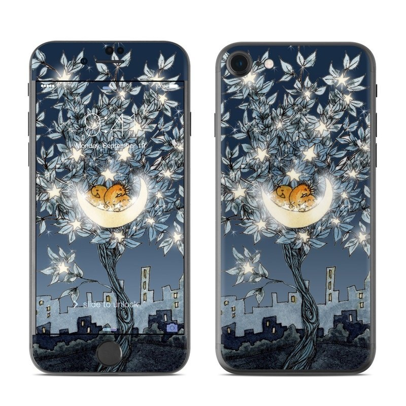 iPhone 8 Skin design of Illustration, Sky, Tree, Plant, Art, Space, Landscape, Flower, House, World with black, gray, blue colors