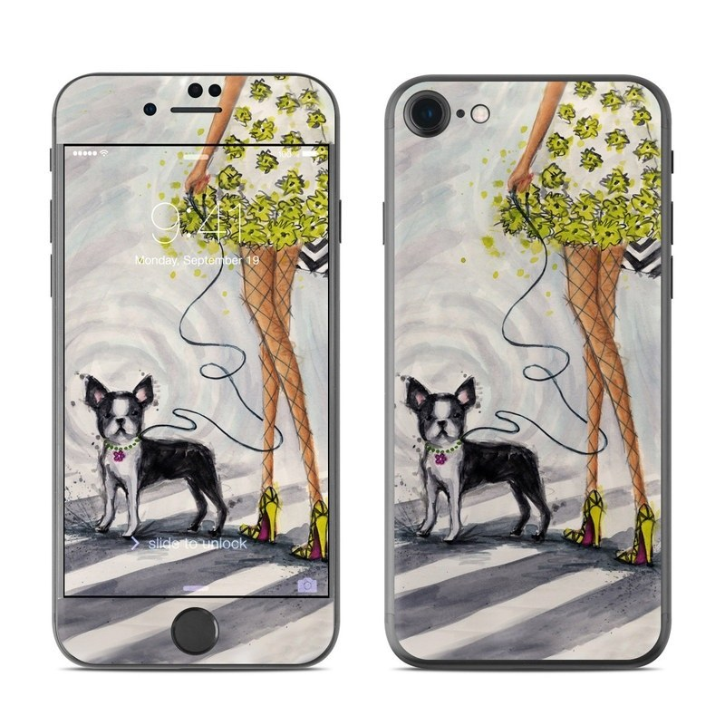 iPhone 8 Skin design of Dog, Canidae, Carnivore, Illustration, Boston terrier, Dog breed, French bulldog, Non-Sporting Group, Art, Plant with black, white, yellow, orange colors