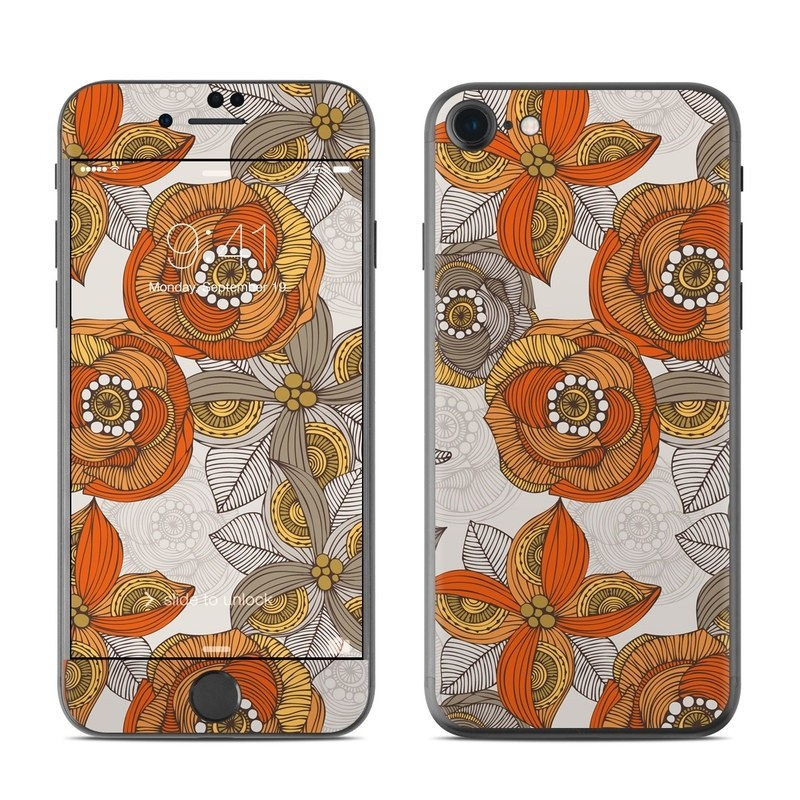 Orange and Grey Flowers iPhone 8 Skin