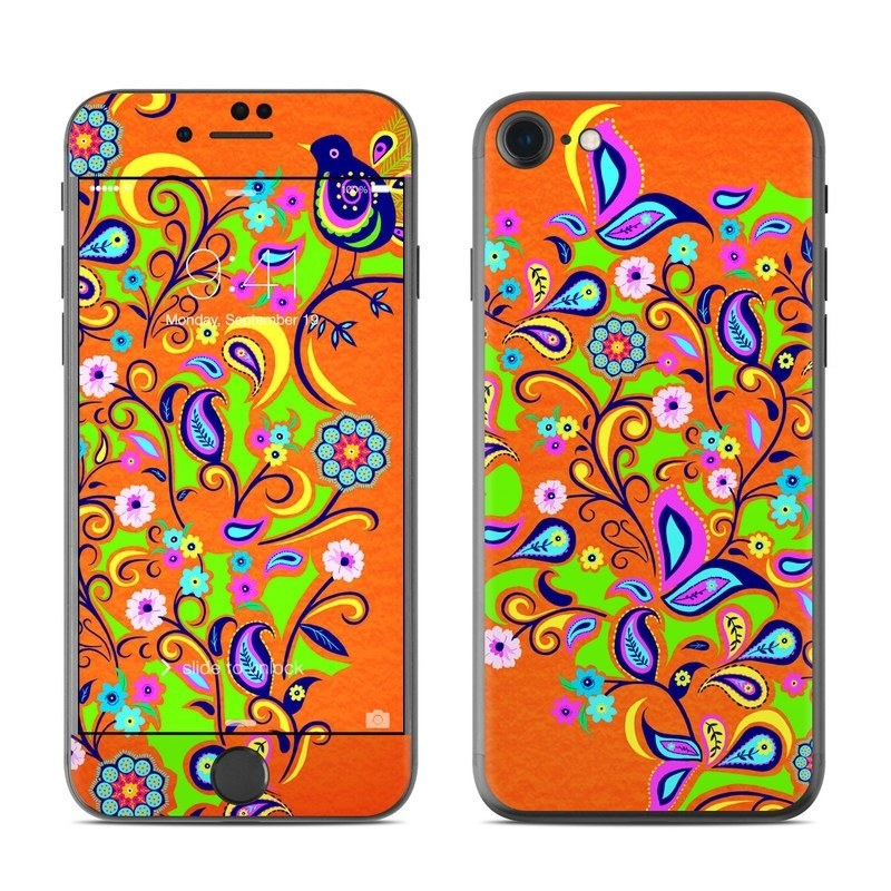 iPhone 8 Skin design of Pattern, Visual arts, Art, Modern art, Design, Psychedelic art, Ornament with red, green, orange, blue colors