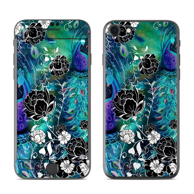 iPhone 8 Skin design of Pattern, Psychedelic art, Organism, Turquoise, Purple, Graphic design, Art, Design, Illustration, Fractal art with black, blue, gray, green, white colors