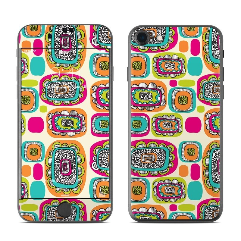 iPhone 8 Skin design of Pattern, Design, Visual arts, Font, Label, Graphics, Art with blue, orange, red, pink, green colors