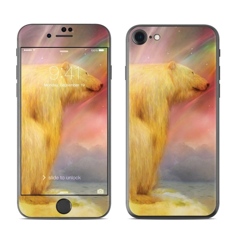 iPhone 8 Skin design of Polar bear, Sky, Space, Adaptation, Art, Painting, Meteorological phenomenon with green, gray, black, red, pink colors
