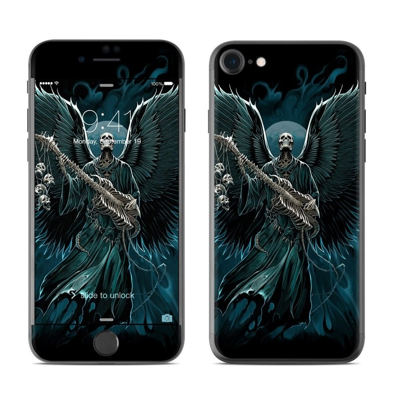 iPhone 8 Skin design of Angel, Wing, Supernatural creature, Fictional character, Illustration, Mythology, Darkness, Graphic design, Art with black, blue, white colors
