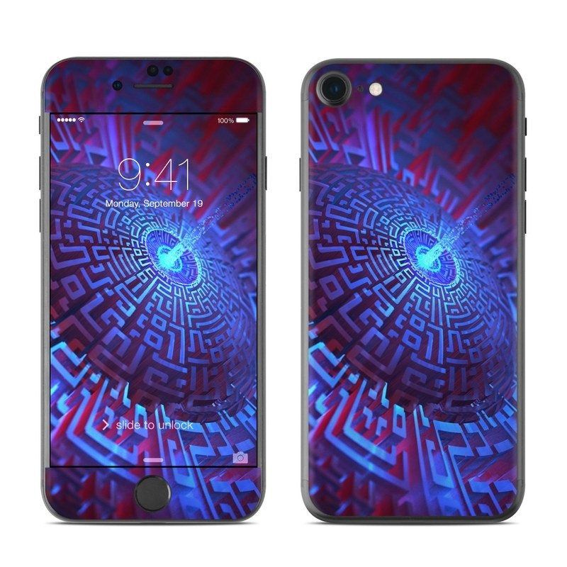 iPhone 8 Skin design of Blue, Light, Fractal art, Electric blue, Purple, Water, Psychedelic art, Organism, Art, Spiral with black, blue colors