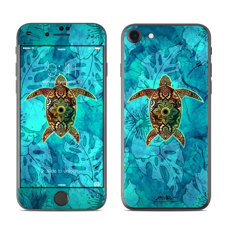 iPhone 8 Skin design of Sea turtle, Green sea turtle, Turtle, Hawksbill sea turtle, Tortoise, Reptile, Loggerhead sea turtle, Illustration, Art, Pattern with blue, black, green, gray, red colors