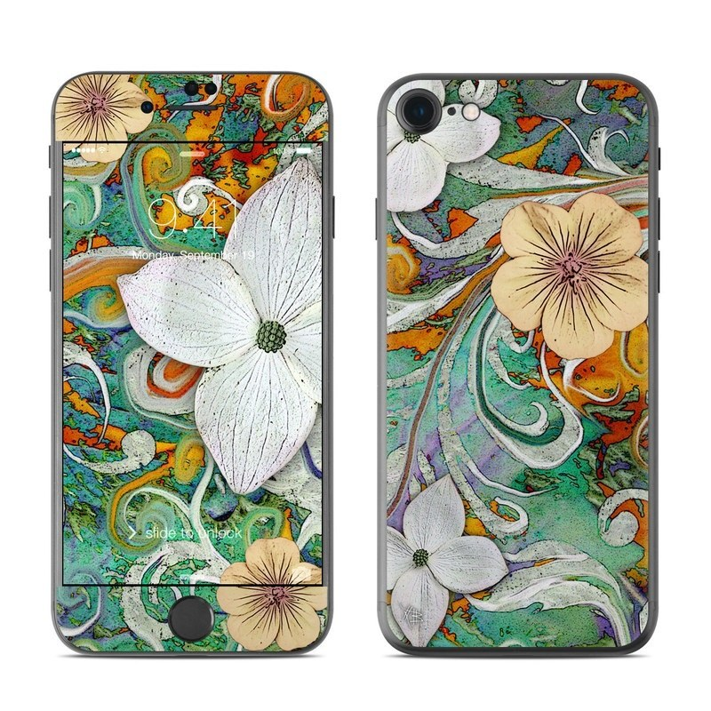 iPhone 8 Skin design of Flower, Pattern, Plant, Wildflower, Floral design, Petal, Art, Painting, Visual arts, Wallpaper with gray, black, green, blue, red colors