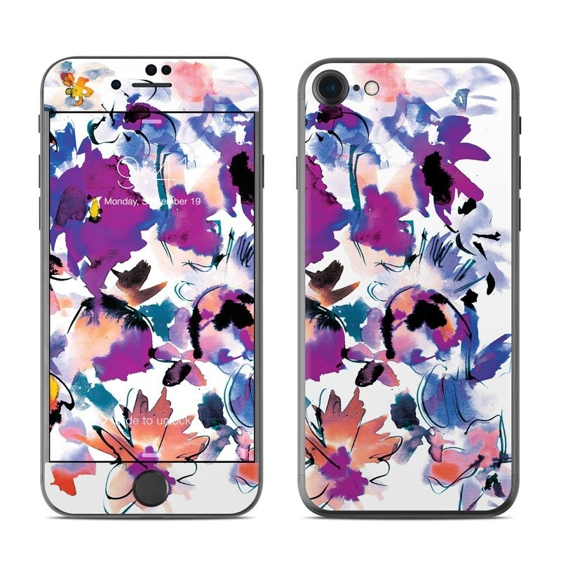 iPhone 8 Skin design of Product, Purple, Illustration, Graphic design, Plant, Clip art, Flower, Graphics, Wildflower, Watercolor paint with white, purple, pink, yellow, blue, black colors
