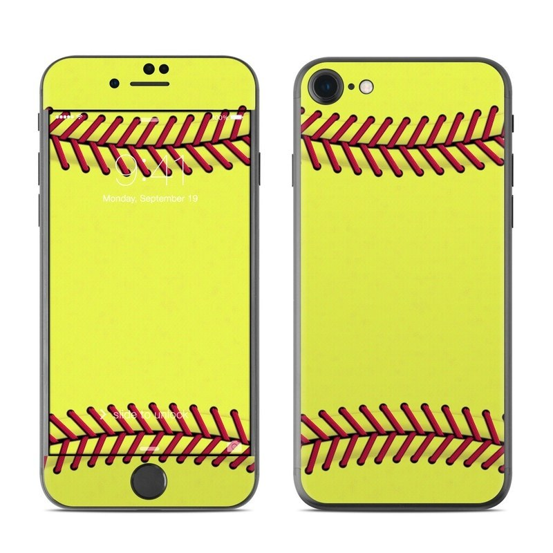 iPhone 8 Skin design of Yellow, Line, Parallel with green, red, black colors