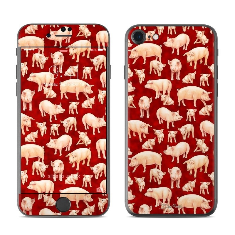 iPhone 8 Skin design of Red, Animal figure, Terrestrial animal, Design, Snout, Organism, Pattern, Wildlife, Herd with red, pink, gray, green, yellow colors