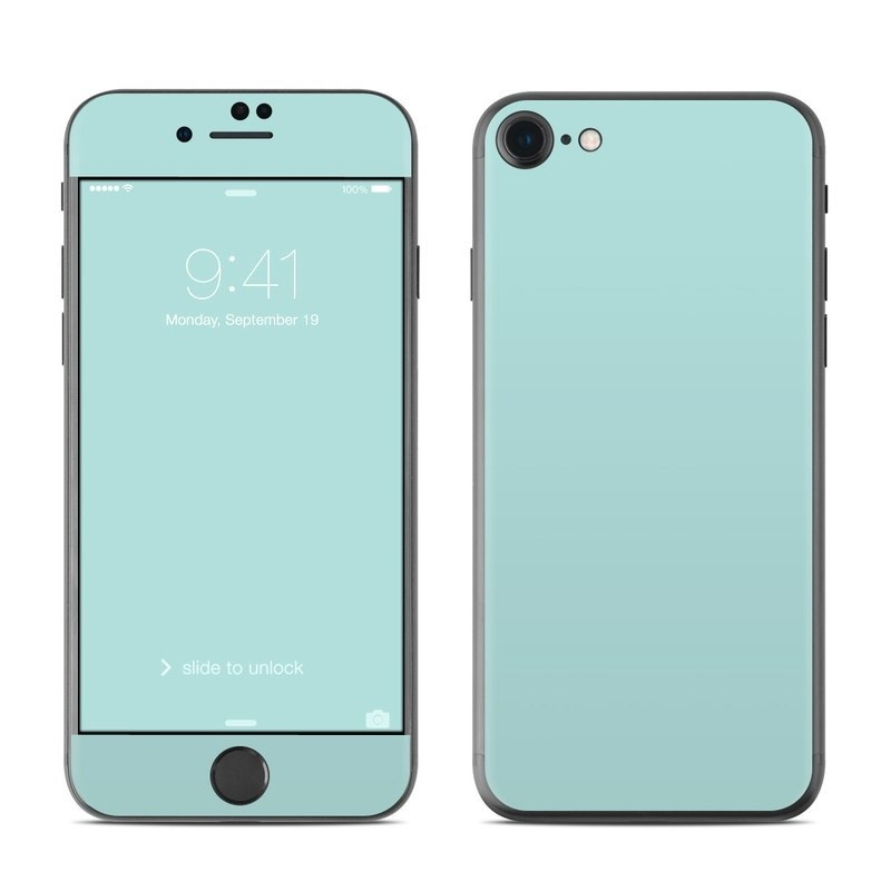 iPhone 8 Skin design of Green, Blue, Aqua, Turquoise, Teal, Azure, Text, Daytime, Yellow, Sky with blue colors