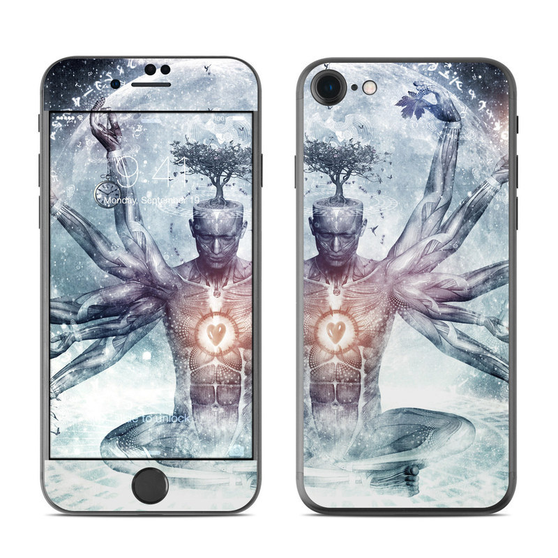 iPhone 8 Skin design of Mythology, Cg artwork, Water, Illustration, Fictional character, Space, Graphics, Art, Graphic design with blue, red, orange, black, white colors