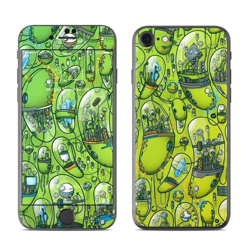 iPhone 8 Skin design of Green, Pattern, Yellow, Design, Illustration, Plant, Art, Graphic design, Urban design with green, blue, gray, yellow, orange colors