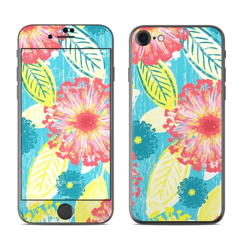 iPhone 8 Skin design of Pattern, Design, Flower, Floral design, Plant, Textile, Wrapping paper, Wildflower, Visual arts with pink, gray, blue, yellow colors