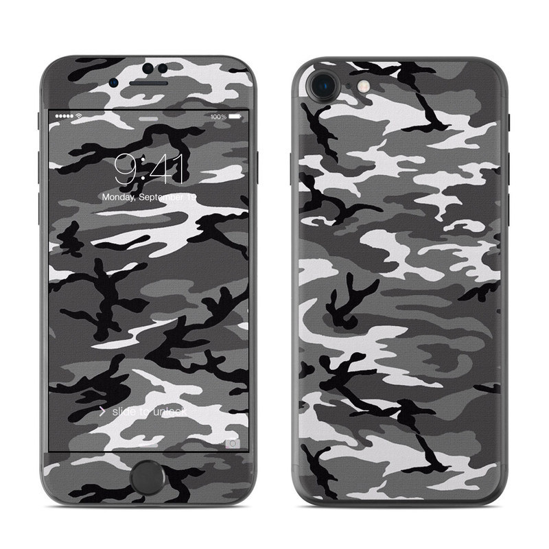 iPhone 8 Skin design of Military camouflage, Pattern, Clothing, Camouflage, Uniform, Design, Textile with black, gray colors