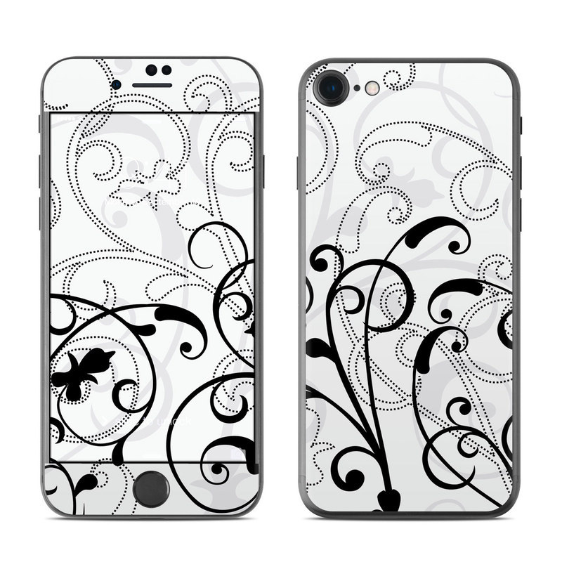 iPhone 8 Skin design of White, Line art, Floral design, Pattern, Black-and-white, Design, Botany, Ornament, Leaf, Line with white, gray, black colors