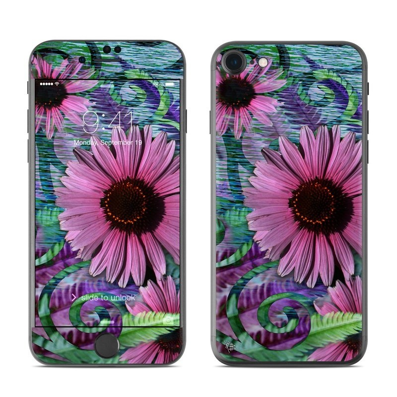 iPhone 8 Skin design of Flowering plant, Flower, Coneflower, Plant, Petal, Pink, Purple coneflower, Purple, Botany, african daisy with black, gray, purple, green, blue colors