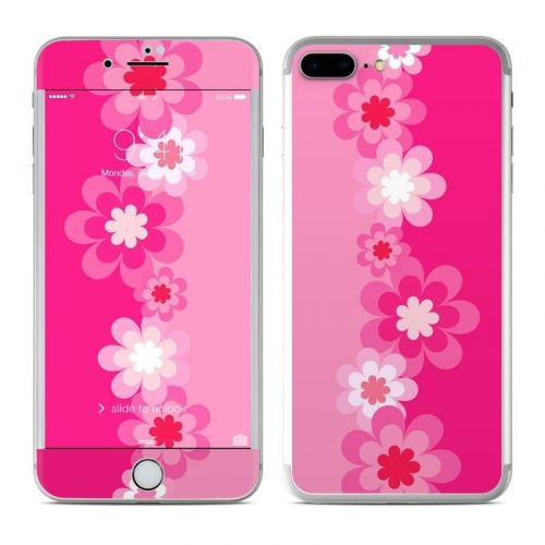 Retro Pink Flowers iPhone 8 Plus Skin