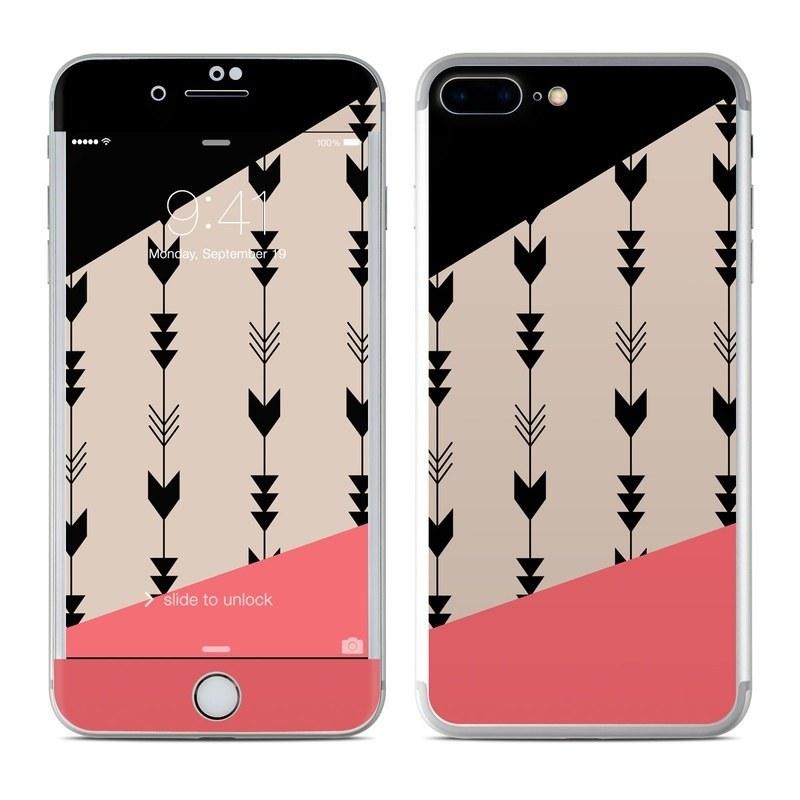 iPhone 8 Plus Skin design of Line, Pattern, Design, Font, Illustration with black, gray, pink colors