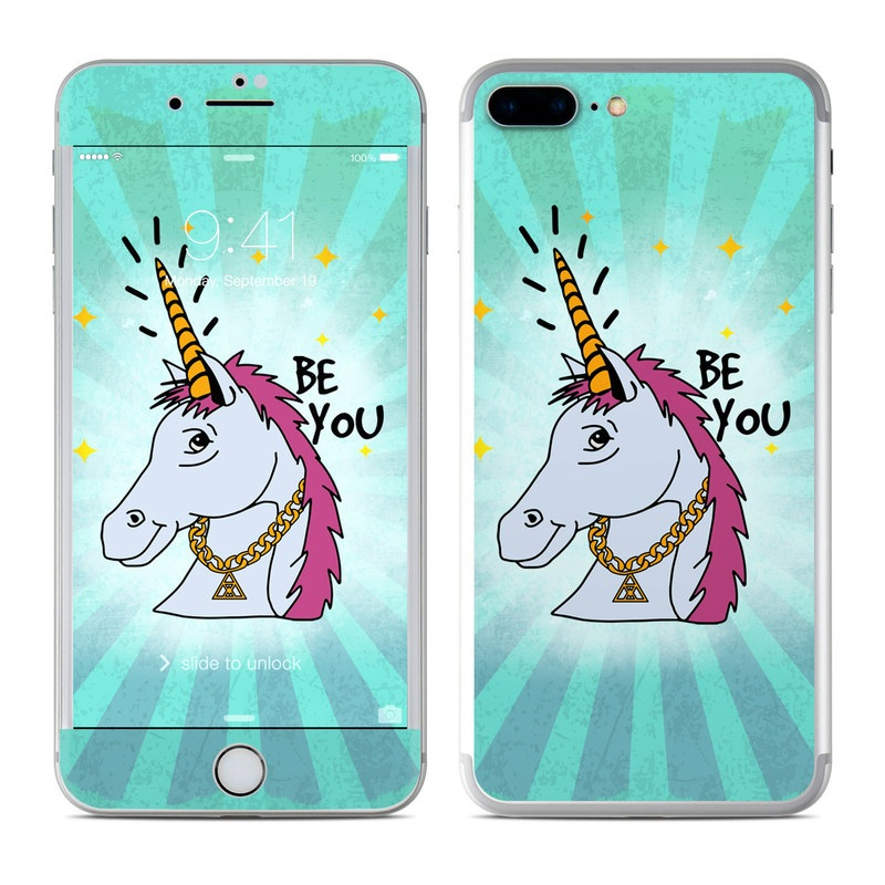 iPhone 8 Plus Skin design of Illustration, Unicorn, Cartoon, Fictional character, Graphic design, Art, Mythical creature, Livestock, Giraffe, Graphics with blue, white, pink, yellow colors