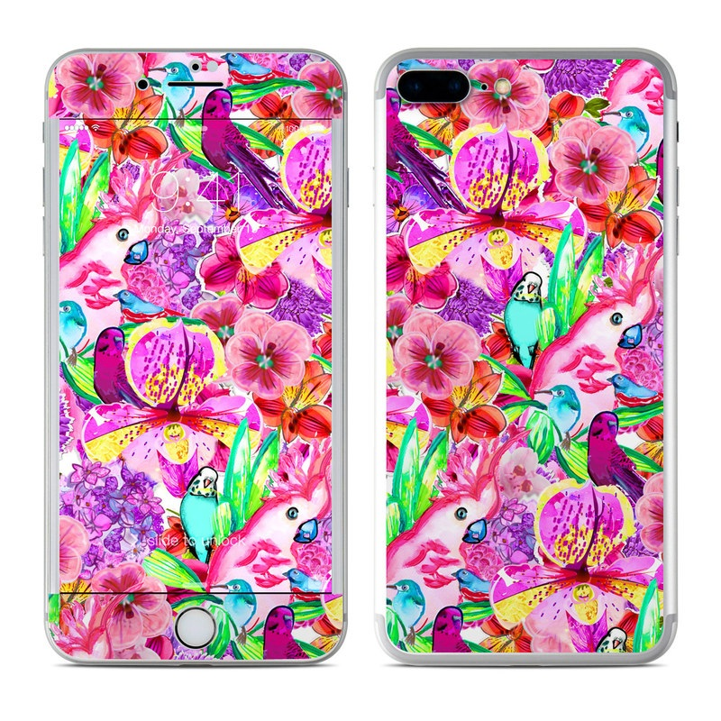 iPhone 8 Plus Skin design of Flower, Pink, Pattern, Magenta, Purple, Petal, Plant, Floral design, Violet, Design with purple, pink, red, green, yellow colors
