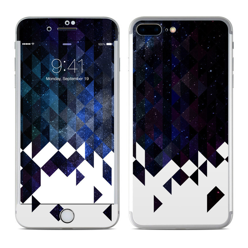 iPhone 8 Plus Skin design of Text, Pattern, Graphic design, Font, Purple, Design, Line, Triangle, Logo, Graphics with black, blue, white colors