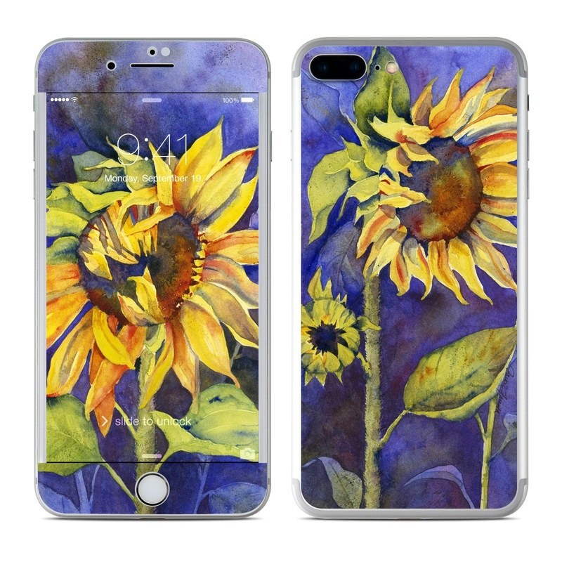 iPhone 8 Plus Skin design of Flower, Sunflower, Painting, sunflower, Watercolor paint, Plant, Flowering plant, Yellow, Acrylic paint, Still life with green, black, blue, gray, red, orange colors