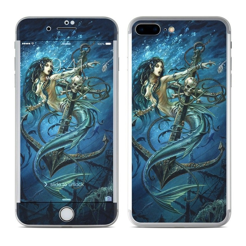 iPhone 8 Plus Skin design of Mermaid, Cg artwork, Illustration, Fictional character, Art, Mythology, Mythical creature, Graphic design with blue, green, white, black colors