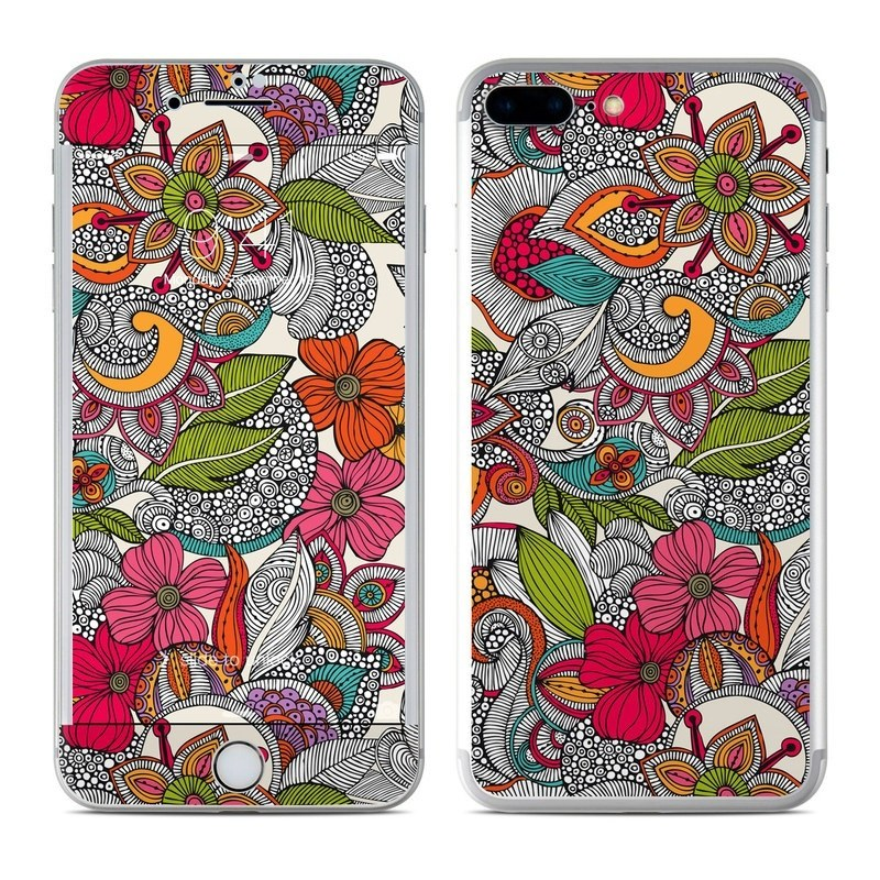 iPhone 8 Plus Skin design of Pattern, Drawing, Visual arts, Art, Design, Doodle, Floral design, Motif, Illustration, Textile with gray, red, black, green, purple, blue colors