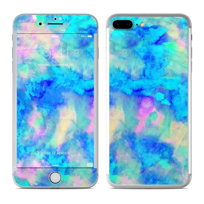 iPhone 8 Plus Skin design of Blue, Turquoise, Aqua, Pattern, Dye, Design, Sky, Electric blue, Art, Watercolor paint with blue, purple colors