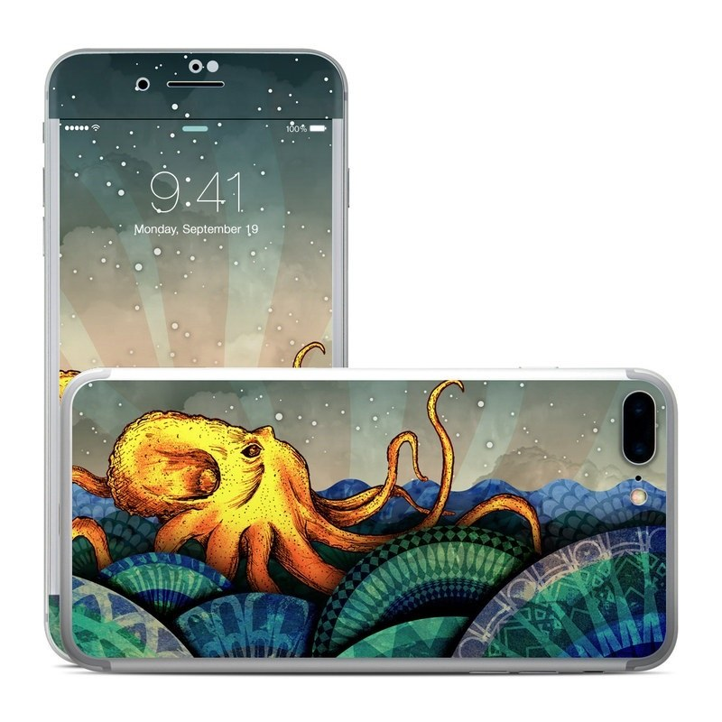 iPhone 8 Plus Skin design of Illustration, Fractal art, Art, Cg artwork, Sky, Organism, Psychedelic art, Graphic design, Graphics, Octopus with black, gray, blue, green, red colors
