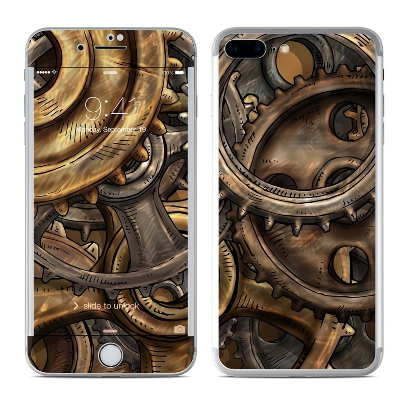 iPhone 8 Plus Skin design of Metal, Auto part, Bronze, Brass, Copper with black, red, green, gray colors