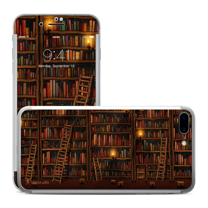 iPhone 8 Plus Skin design of Shelving, Library, Bookcase, Shelf, Furniture, Book, Building, Publication, Room, Darkness with black, red colors
