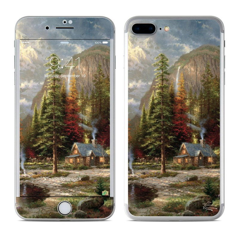 iPhone 8 Plus Skin design of Natural landscape, Nature, Painting, Tree, Landscape, Biome, Sky, Watercolor paint, Forest, Reflection with black, gray, green, red colors