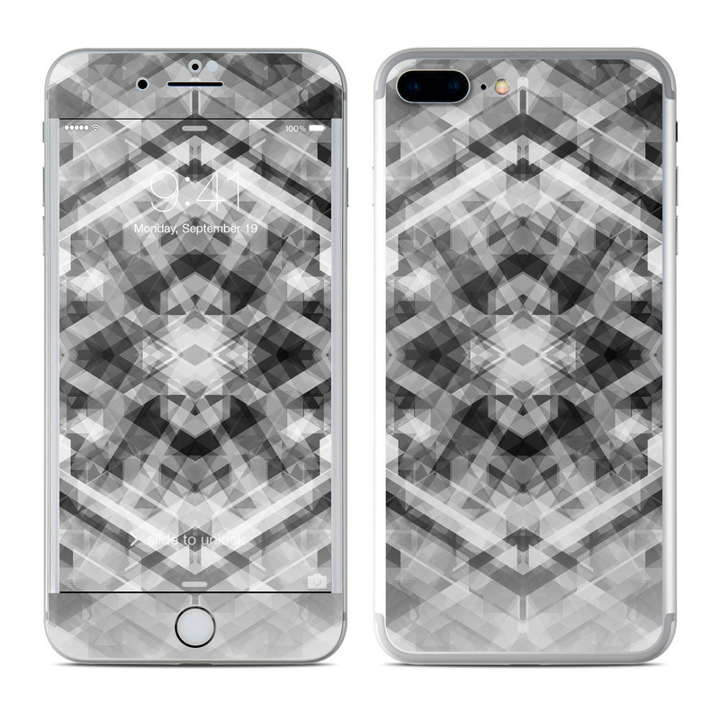 iPhone 8 Plus Skin design of Black-and-white, Pattern, Monochrome, Symmetry, Monochrome photography, Design, Style, Illustration with black, white, gray colors