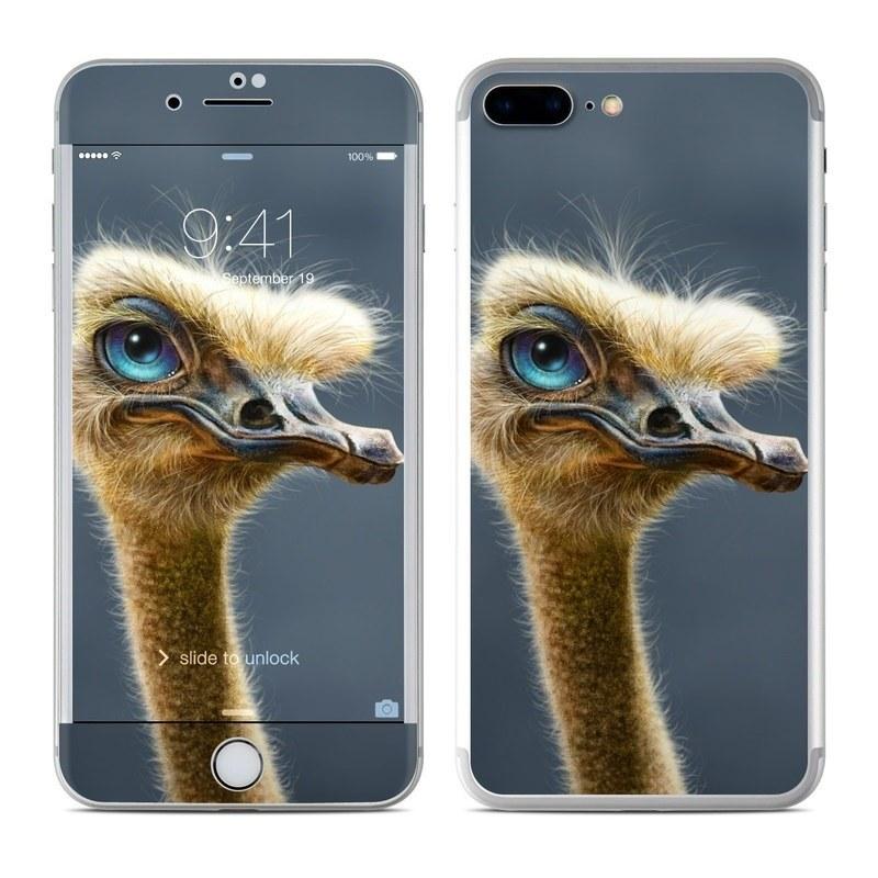 iPhone 8 Plus Skin design of Ostrich, Flightless bird, Ratite, Bird, Beak, Close-up, Emu, Wildlife, Organism, Terrestrial animal with black, gray, blue, green, red colors
