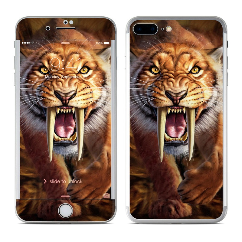 iPhone 8 Plus Skin design of Roar, Felidae, Facial expression, Wildlife, Whiskers, Bengal tiger, Carnivore, Snout, Big cats, Fang with black, orange, yellow, white colors