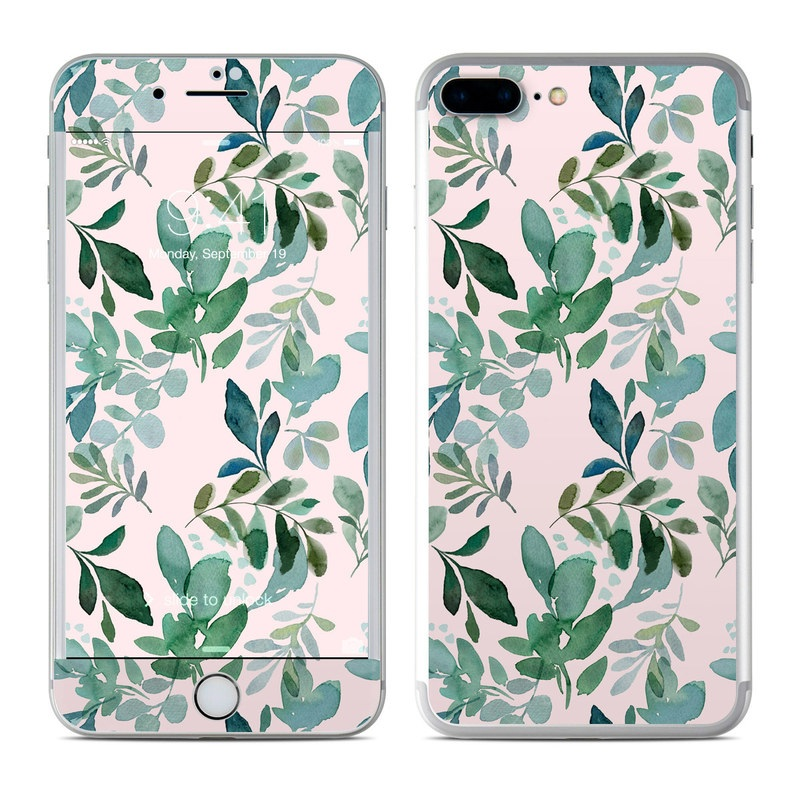 iPhone 8 Plus Skin design of Pattern, Green, Leaf, Design, Plant, Tree, Military camouflage with white, green, blue colors
