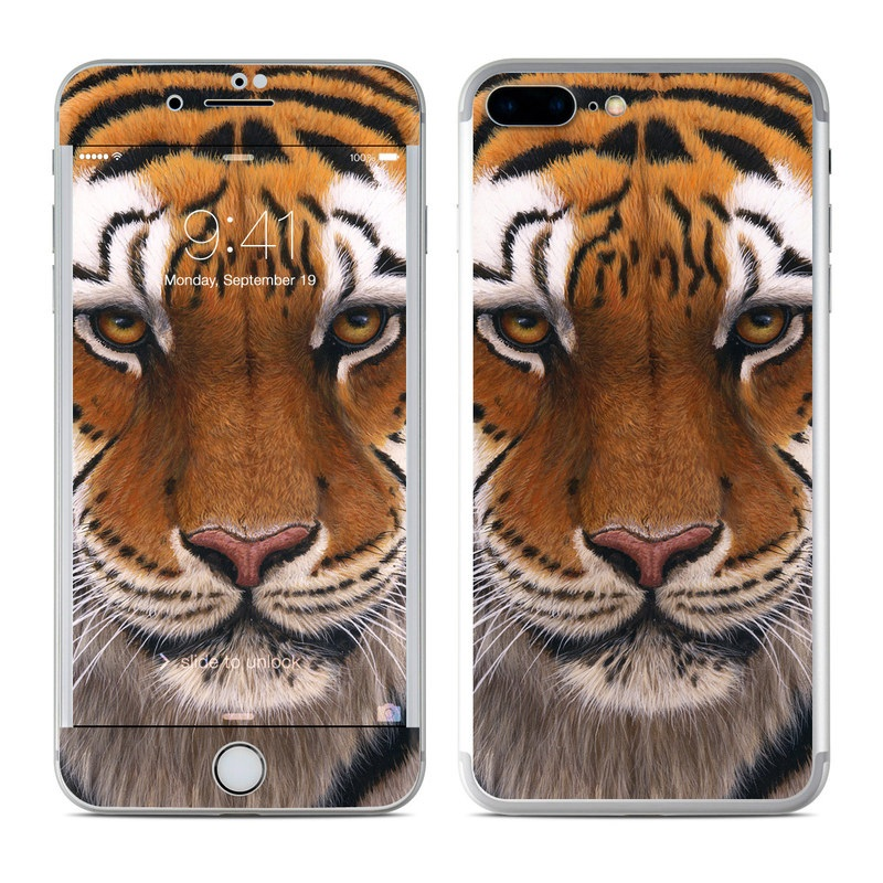 iPhone 8 Plus Skin design of Tiger, Mammal, Wildlife, Terrestrial animal, Vertebrate, Bengal tiger, Whiskers, Siberian tiger, Felidae, Snout with black, gray, red, green, pink colors