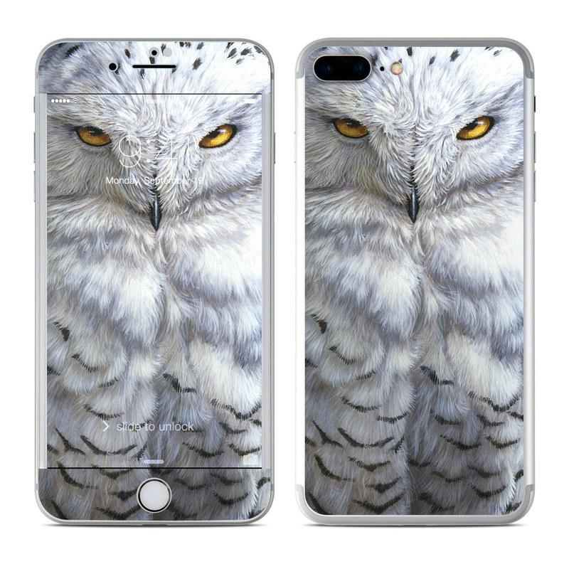 iPhone 8 Plus Skin design of Owl, Bird, Bird of prey, Snowy owl, great grey owl, Close-up, Eye, Snout, Wildlife, Eastern Screech owl with gray, white, black, blue, purple colors