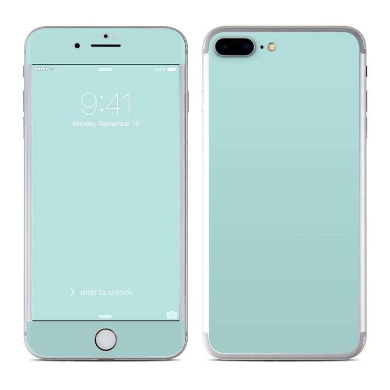 iPhone 8 Plus Skin design of Green, Blue, Aqua, Turquoise, Teal, Azure, Text, Daytime, Yellow, Sky with blue colors