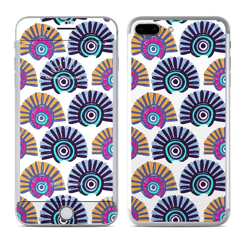 iPhone 8 Plus Skin design of Pattern, Line, Textile, Design, Circle, Visual arts, Dahlia, Symmetry, Wrapping paper with white, blue, yellow, black, pink, orange colors