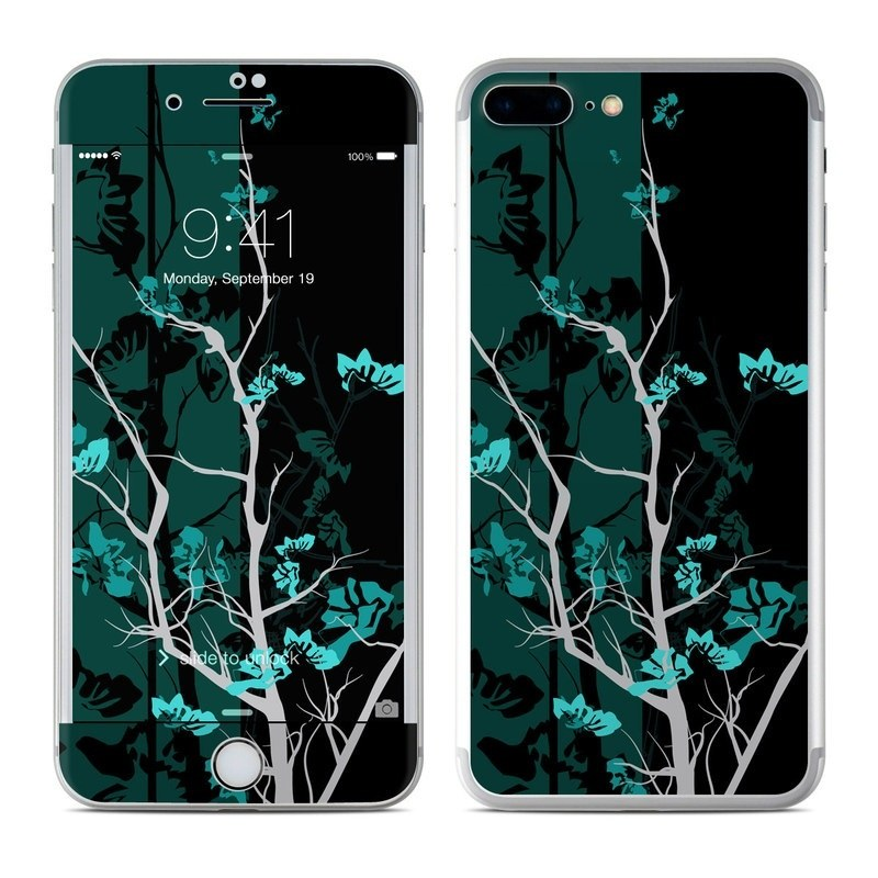 iPhone 8 Plus Skin design of Branch, Black, Blue, Green, Turquoise, Teal, Tree, Plant, Graphic design, Twig with black, blue, gray colors