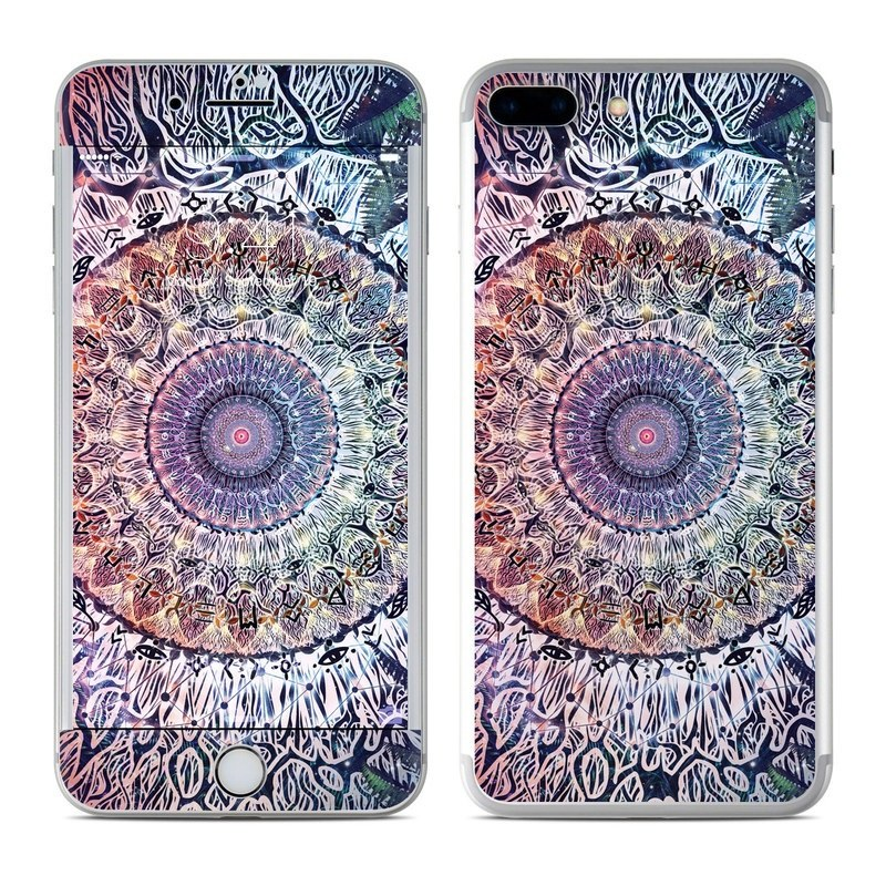 iPhone 8 Plus Skin design of Tapestry, Pattern, Art, Close-up, Circle, Fractal art, Textile, Eye, Design, Kaleidoscope with blue, red, yellow, purple, green colors