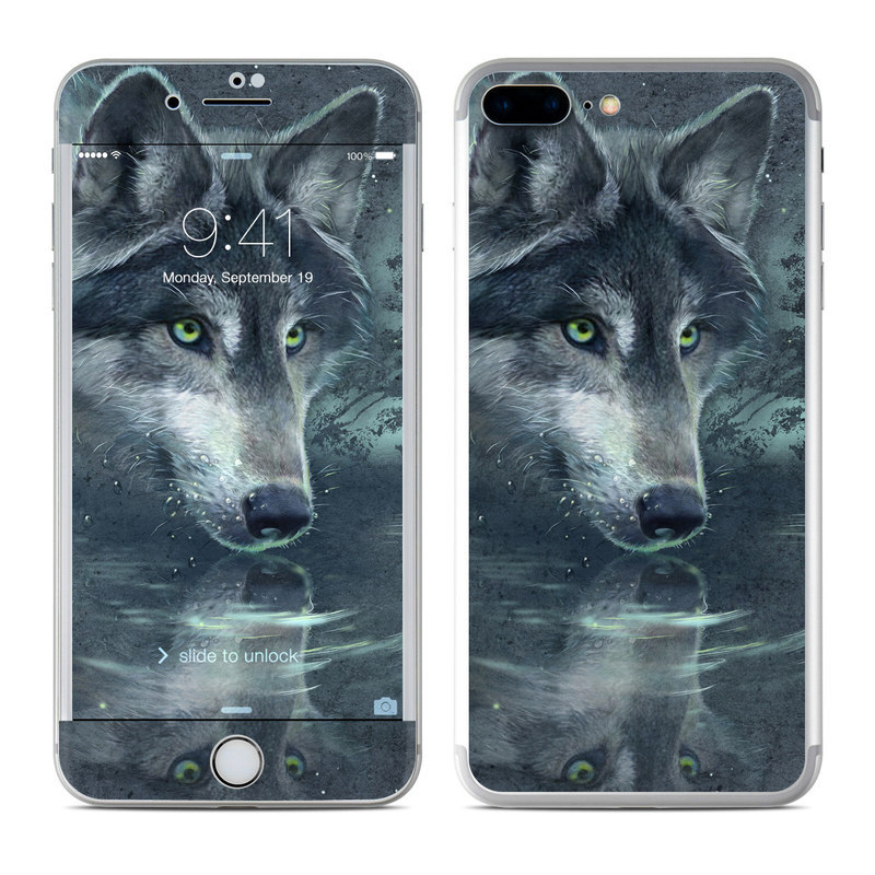 iPhone 8 Plus Skin design of Wolf, Canidae, Wildlife, Red wolf, Canis, canis lupus tundrarum, Snout, Saarloos wolfdog, Wolfdog, Carnivore with black, gray, blue colors