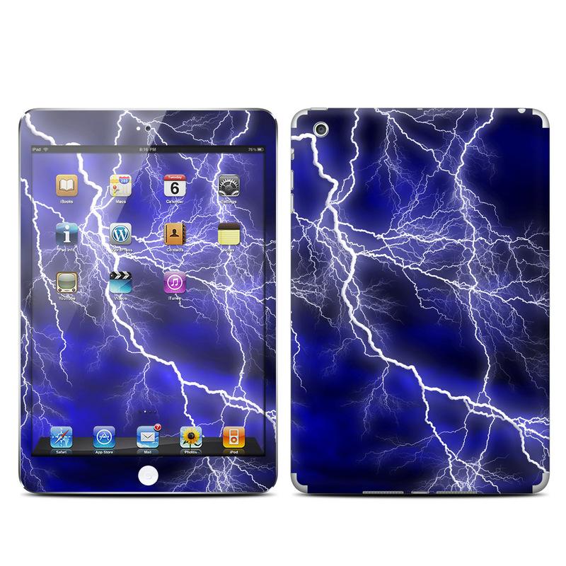 iPad mini 1 Skin design of Thunder, Lightning, Thunderstorm, Sky, Nature, Electric blue, Atmosphere, Daytime, Blue, Atmospheric phenomenon with blue, black, white colors