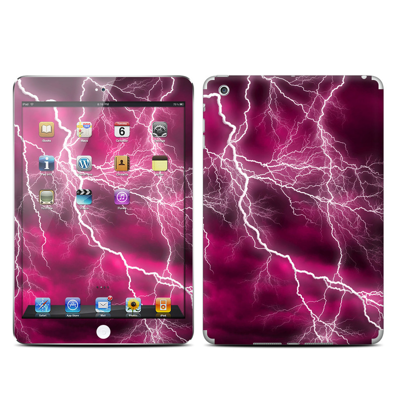 iPad mini 1 Skin design of Thunder, Lightning, Thunderstorm, Sky, Nature, Purple, Red, Atmosphere, Violet, Pink with pink, black, white colors