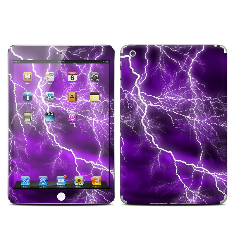 iPad mini 1 Skin design of Thunder, Lightning, Thunderstorm, Sky, Nature, Purple, Violet, Atmosphere, Storm, Electric blue with purple, black, white colors